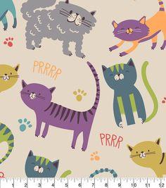 "Juvenile Apparel Print Fabric 58""-Prrr Cats And Paw Print"