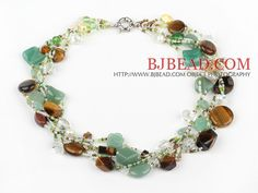18 inches multi strand multi color stone and crystal necklace with moonlight clasp - Bjbead.com-----$11.87