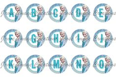 Frozen elsa alphabet abc s 1 inch digital bottle cap image on etsy