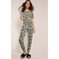 Kelsah Khaki Camouflage Casual Jumpsuit (£10) ❤ liked on Polyvore featuring jumpsuits, green, camo jumpsuit, jump suit, camouflage jumpsuit, green jumpsuit and khaki green jumpsuit
