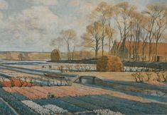 Koster A.L.    Bollenveld, watercolour on paper 62.5 x 92.0 cm., gesigneerd r.o.