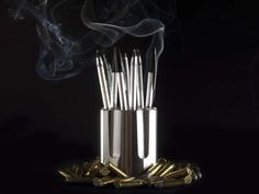 Choose Your Bullets Pencil Holder - The pen is mightier than the gun. The Choose Your Bullets Pencil Holder is a desk accessory that empowers our thoughts and gives us the opportunity to shoot positive ideas. Pencil Holder, Pen Holders, Ammo Art, Bullet Pen, Desk Accessories, Industrial Design, Guns, Creative, Bullets