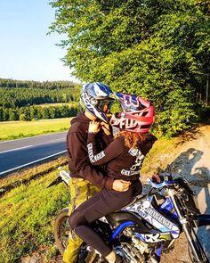 Dirt Bike Couple, Motocross Couple, Motocross Love, Biker Couple, Motorcycle Couple, Black Couples Goals, Cute Couples, Couple Goals, Cute Relationship Goals