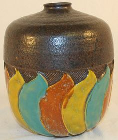 Roseville Pottery Colorful Art Deco Factory Lamp Base from Just Art Pottery