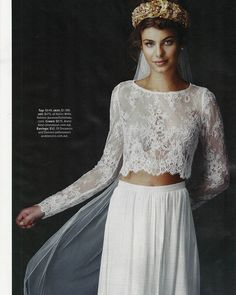 'Tillie' lace crop + 'Natasha' skirt as featured in Cosmo Bride