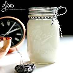 Beautiful soy wax candles made in genuine Ball© Mason Jars by Glow Candles, Australia.  The Ball© brand of jars are iconic in the U.S. and are very popular home decor items, featuring often in Bridal decor.  With proper care, this soy candle will burn for approx 70+ hours.  www.glowcandles.net