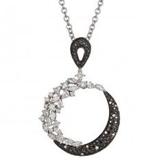 For Angel Italy. ZYDO Italy Pendant with Over 4cts of Round, Marquise, Pear Shape, Princess Cut and Black Diamonds