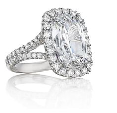 Henri Daussi style CMDS shown with a 5.07 Ct. DIF Signature Daussi Cushion™ set in Platinum!  DIF - (D color, internally flawless)