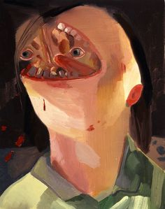 Dana Schutz<br /> <i>Face Eater</i>, 2004<br /> oil on canvas<br /> 23 x 18 inches<br /> 58.4 x 45.7 cm