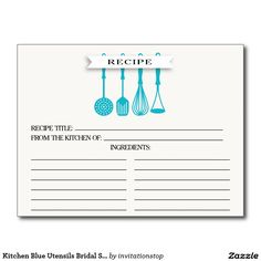 Kitchen Blue Utensils Bridal Shower Recipe Cards