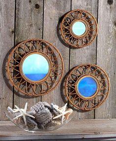 NEW Set of 3 Rattan Decorative Wall Mirrors Coastal Seaside Tropical Decor in Home & Garden, Home Décor, Mirrors   eBay