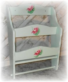 Hand Painted Rose Shabby Chic Style Wall Mounted Magazine / Towel Rack - Cottage…