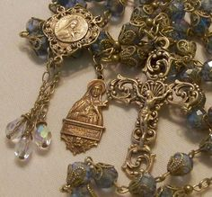 French Rosary ~ St Therese ~ 8mm Pale Blue Crystals ~ Antique Bronze Design ~ in Collectibles, Religion & Spirituality, Christianity | eBay