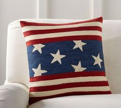 Vintage Decor Diy Pottery Barn Flag Embroidered Pillow Cover - There is no color combo more enduring than red, white and blue. This pillow cover lends a patriotic touch to your seating area with classic stars and stripes featuring embroidered details. Pottery Barn, Diy Pillows, Throw Pillows, Accent Pillows, Glam Pillows, Sewing Pillows, American Flag Stars, Applique Pillows, Textiles