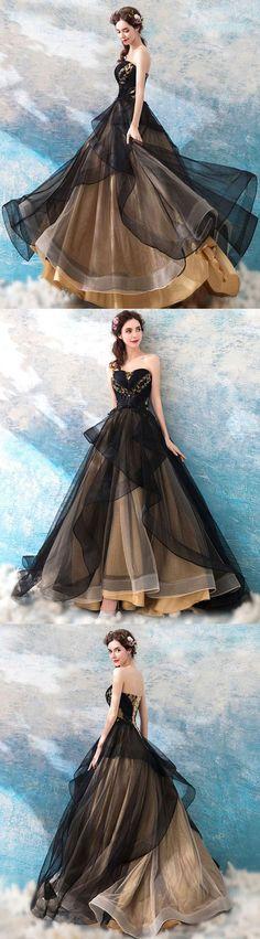 Black sweetheart neck tulle long prom dress, black evening dress