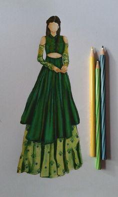 High fashn garment illustration by Priyanka Thakur Dress Design Drawing, Dress Design Sketches, Fashion Design Sketchbook, Fashion Design Portfolio, Fashion Design Drawings, Dress Drawing, Fashion Sketches, Fashion Drawing Dresses, Fashion Illustration Dresses