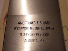 UNFIRED VINTAGE ZIPPO GMC TRUCKS & BUSES O'CONNOR MOTOR COMPANY PAT 2517191