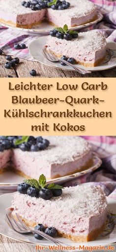 Rezept für einen leichten Low Carb Blaubeer-Quark-Kuchen mit Kokos - kohlenhydratarm, kalorienreduziert, ohne Zucker und Getreidemehl