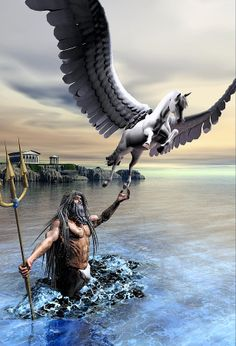 Poseidon And Pegasus Digital Art  - Poseidon And Pegasus Fine Art Print