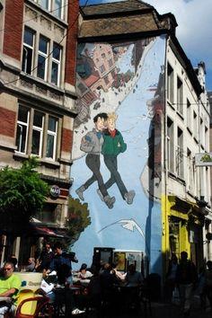Striptekeningen op muur - Brussels - Belgium