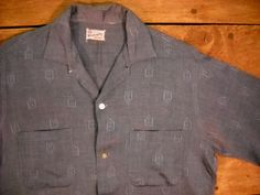Vintage Men's 1950's60's Blue Rayon Shirt S by Rustology on Etsy, 39.00