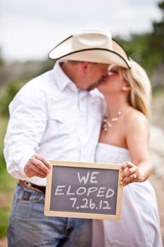 One of my fave pictures from elopement. This is also how we announced it to family and friends - with a picture! Chapel Dulcinea  (photo courtesy Tara Welch Photography) Elope, rustic wedding, country wedding, Austin, wedding announcement
