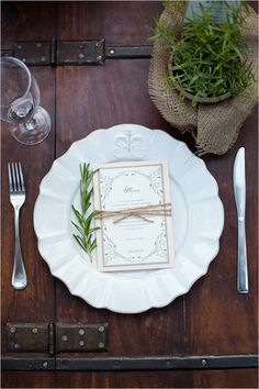 Rustic Herb Wedding Ideas using local products to create some summertime wedding inspiration. Herb Wedding, Wedding Menu, Chic Wedding, Garden Wedding, Rustic Wedding, Wedding Flowers, Wedding Ideas, Wedding Table Settings, Place Settings