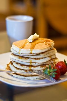 These pancakes are my go-to recipe. They are just as quick and easy as using a pancake mix but much tastier!