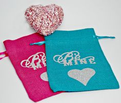 VALENTINES Be Mine Burlap Bags / Burlap Valentine Bag / Bling Bags Set of 2 by StaziesStitchsNStuff on Etsy