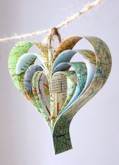 Vintage Style Paper Heart Bunting made from maps / Designed by Bookity