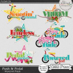 Push & Pedal - WordArt Pack by Kim using Push & Pedal by Connie Prince. Includes 6 cluster wordart images, saved in PNG format. Shadows are included. Scrap for hire / others ok.