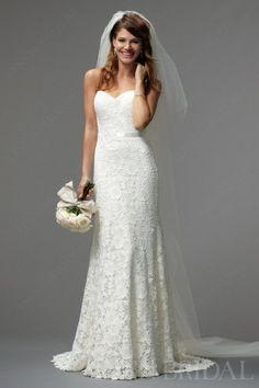 Elegant Column Sweetheart Lace Wedding Dress   LynnBridal.com