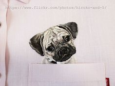 hand embroidered Pug dog in the pocket on the pink linen shirt for women.