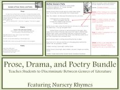 RL.4.5 Prose, Drama, and Poetry Bundle teaches students to discriminate between different types of literature. It includes a PowerPoint for direct instruction; samples and related terms; five nursery rhymes adapted with portions that are prose, drama, and poetry; and answer keys. It's a quick, easy way to teach this standard.