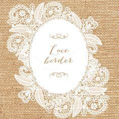 Vector floral lace frame by designloverstudio on Creative Market