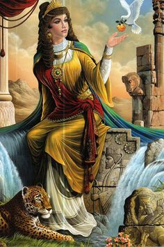 """""""painting picture of a woman in the old Persian empire on handmade tiles for your interior design"""" Ancient Persian, Ancient Art, Persian Princess, Devian Art, Ancient Mesopotamia, Art Asiatique, Persian Culture, Iranian Art, Indian Paintings"""