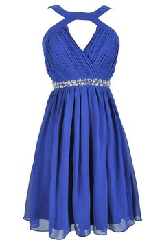 Embellished Pleated Chiffon Designer Dress by Minuet in Royal Blue    www.lilyboutique.com
