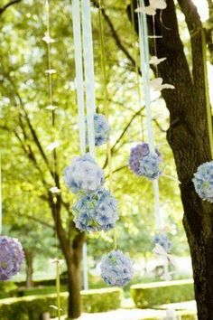 Sweet pomanders hanging from a tree for an outdoor wedding. (wheels are turning)