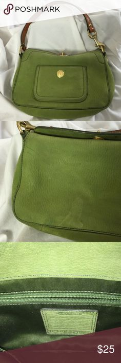 Green Suede Coach Bag Showing some signs of wear, this sweet little bag would benefit from a good suede cleaning. It's original bag is long gone, but what kind of purse needs a purse anyway?? Photo of the back shows two ink marks and a water mark. Coach Bags Mini Bags