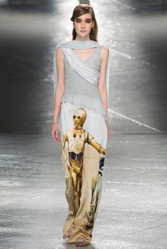 Rodarte's Kate and Laura Mulleavy work in a galaxy all their own, but that galaxy seems to have some crossover with the Star Wars's one: Luke Skywalker, R2-D2, C-3PO, and Yoda all appeared printed on finale gowns at Rodarte's Fall 2014 show.