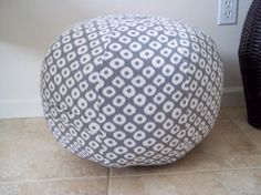 "Pouf Ottoman  made from Robert Allen Home Fabric by CallieZoey, $80.00 The pouf measures 18"" wide by 15"" high, it has a zipper for stuffing and un-stuffing. Can be spot cleaned, or hand washed cold water, and line dried."