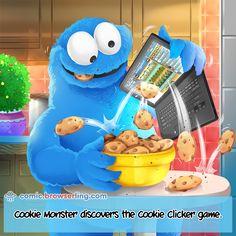 Cookie Monster discovers the Cookie Clicker game. (Web developer comic by Computer Jokes, Clicker Games, Programmer Humor, Nerd Jokes, Designer Friends, Software Development, Cookie Monster, Web Design, Geek Stuff