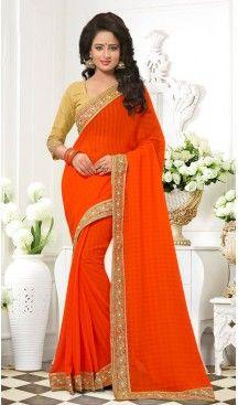 Orange Color Chiffon Lace Beads Work Party Wear Saree Blouse | FH559883456 Follow us @heenastyle #fashion #onlineshopping #partywear #sari #saree #festival #wedding #apparel #makeinindia #casualsarees #clothing #coloursofindia #designer #designersarees #ecommerce #ethnicwear #exclusivedesign #fashionblogger #fashionista #india #salwarkameez #heenastyle #heenastyleshopping