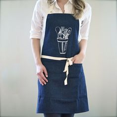 Kitchen Tools Apron | $42. Here's a beautiful 100% cotton chef's apron perfect as a unique household gift. Available at: manykitchens.com