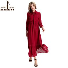 Women 2016 Chiffon Casual Dress Red Flare Hem Lace Up Long Sleeve Summer Autumn Loose Long Maxi Dresses Plus Size MIRESS ** Be sure to check out this awesome product.