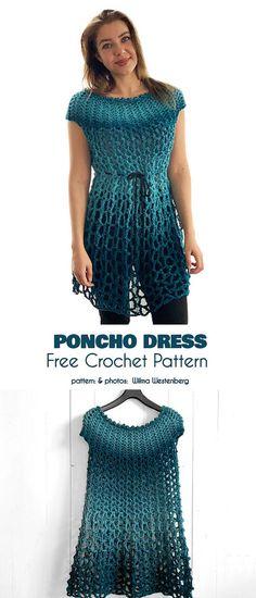 New knitting patterns free poncho hooks 16 Ideas Beau Crochet, Poncho Au Crochet, Pull Crochet, Crochet Poncho Patterns, Crochet Motifs, Lace Knitting, Knitting Patterns Free, Single Crochet, Free Pattern