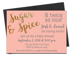 Twin Baby Shower Invitation with Envelopes | Printed Invites and Color Envelopes | Sugar and Spice and Twice as Nice