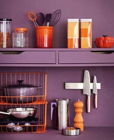 "Color of the year Pantone 2014 : le violet ""Radiant Orchid"" Interior paint color inspiration kitchen more on www. Purple Kitchen, Orange Kitchen, Kitchen Colors, Sweet Home, Colour Consultant, Deco Design, Orange And Purple, Dusty Purple, Deep Purple"