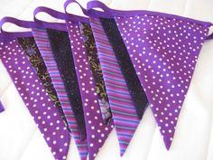 Bunting by Pink Elephants & Lemonade by BuntingPinkElephants Purple Fabric, Purple Ribbon, Purple Party Decorations, Fabric Bunting, Pink Elephant, Etsy Seller, Creative, Facebook, Shop