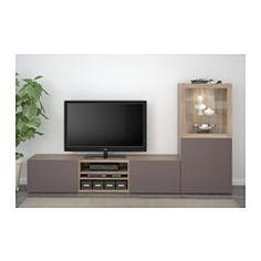 """BESTÅ TV storage combination/glass doors, walnut effect light gray, Valviken dark brown clear glass - 94 1/2x15 3/4x50 3/8 """" - drawer runner, push-open - IKEA"""